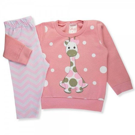 Conjunto Infantil Inverno Moletom/Cotton Menina Ollelê Little Girafa Rosa