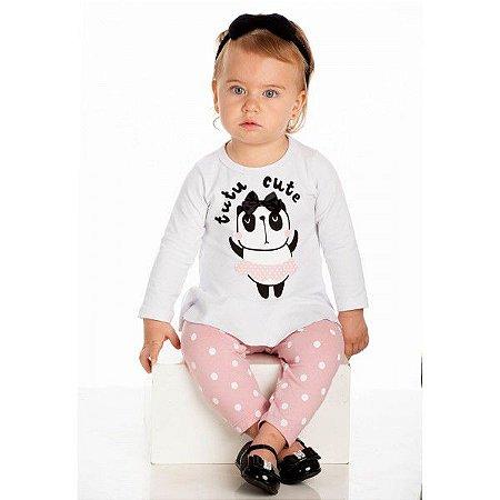 Conjunto Infantil Inverno Cotton Ollelê Litte Panda Tutu Cute Menina