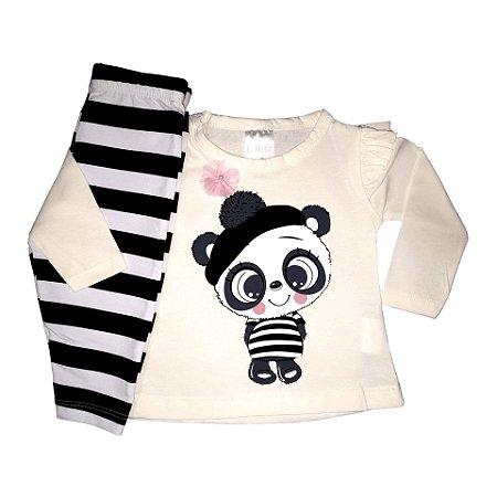 Conjunto Infantil Inverno Cotton Ollelê Litte Panda Menina Branco