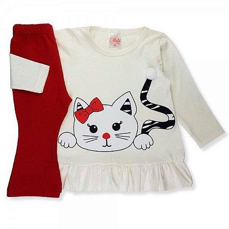 Conjunto Infantil Inverno Malha Cotton Ollelê Litte Gatinha Menina Off/White