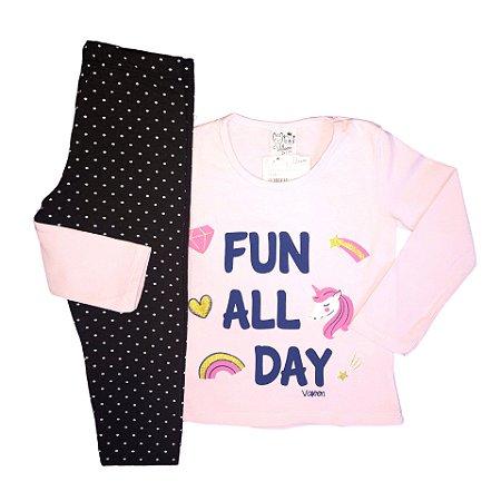Conjunto Menina Blusa Manga Longa Cotton e Calça Legging Full All Day Valeen Kids Branco e Rosa