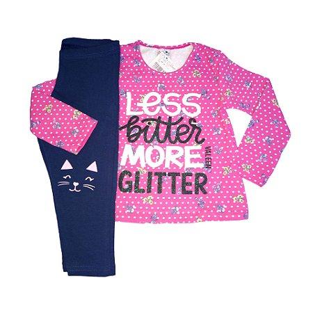 Conjunto Menina Blusa Manga Longa Cotton e Calça Legging More Glitter Valeen Kids Rosa