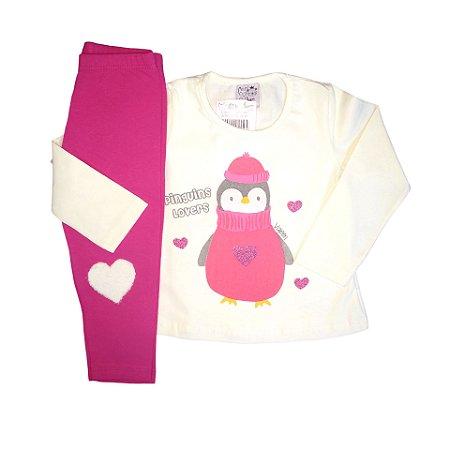 Conjunto Menina Blusa Manga Longa Cotton e Calça Legging Pinguim Valeen Kids Cream