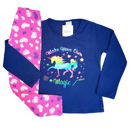 Conjunto Menina Blusa Manga Longa Cotton e Calça Legging Make Your Own Magic Valeen Kids Azul Marinho e Rosa