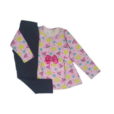Conjunto Menina Blusa Manga Longa Cotton e Calça Legging Gabizinha Rosa