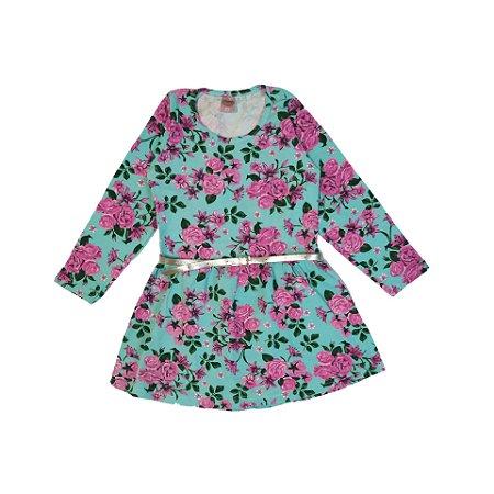 Vestido Manga Longa Cotton Flores da Primavera Labelli