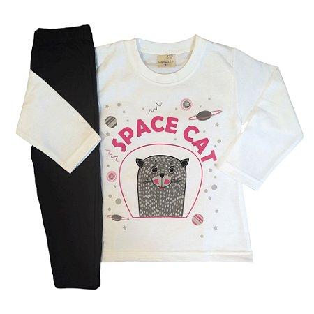 Conjunto Menina Blusa Moletom Peluciado e Calça Legging Space Cat Gabizinha