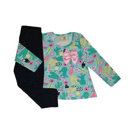 Conjunto Menina Blusa Malha Cotton e Calça Legging Floresta Gabizinha Verde