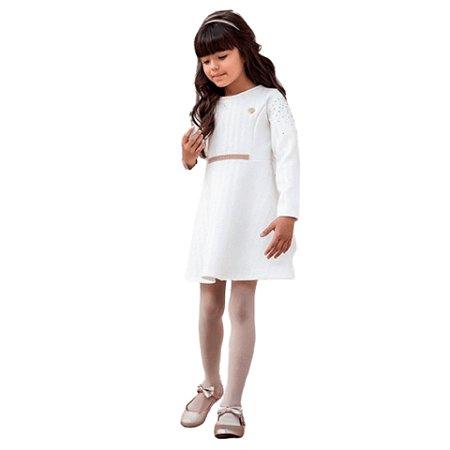 Brandili Mundi Vestido Infantil Manga Longa Rosa e Branco