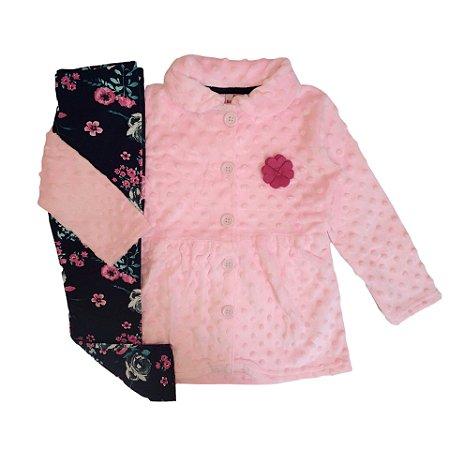 Brandili Conjunto Infantil Casaco de Pelo Texturizado Rosa