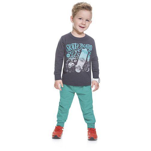 Conjunto Infantil Brandili Skate Board Let's Jump Cinza e Branco