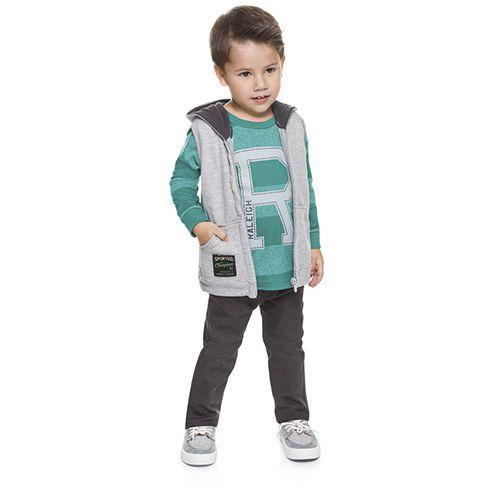 Brandili Mundi Conjunto Infantil Moletom 3 Peças Colete, Camisa e Calça Verde/Cinza e Azul/Cinza
