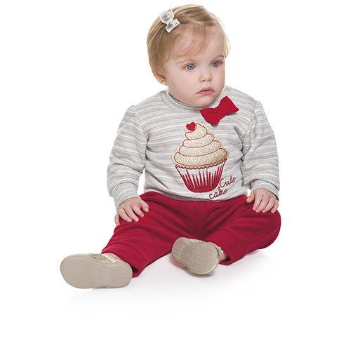 Brandili Mundi Bebê Conjunto Infantil Cupcake Blusão Moletom e Calça Plush Cinza/Vermelho e Cinza/Rosa