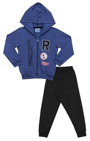Conjunto Infantil Bebê de Jaqueta e Jogger em Moletom Peluciado Azul Grand Prix Racing - Duduka & DDK