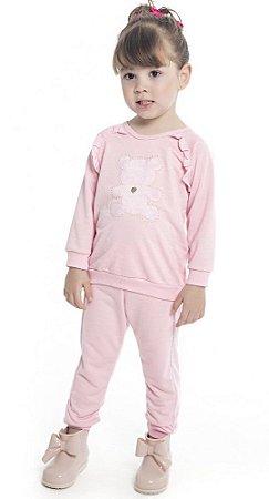 Conjunto Infantil Casaco com Aplique de Ursinho e Calça em Moletinho Peluciado Rosa - Duduka & DDK