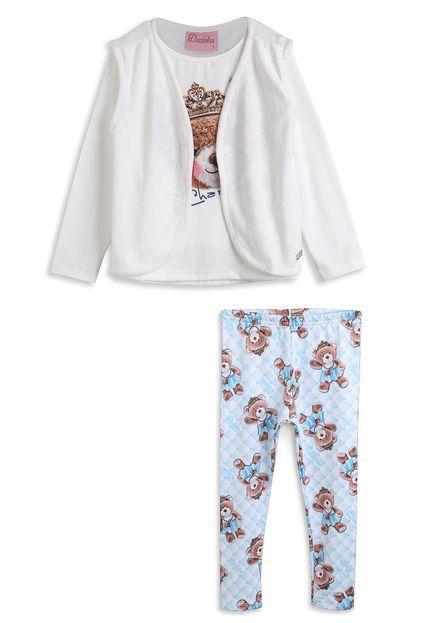 Conjunto Infantil com Blusa Cotton Estampada, Colete em Plush e Leeging Suplex Peluciado Branco - Duduka e DDK