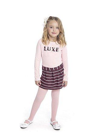 Conjunto Infantil com Blusa Cotton Penteado com Aplique e Saia Shorts em Cotton Jeans Rosa - Duduka e DDK