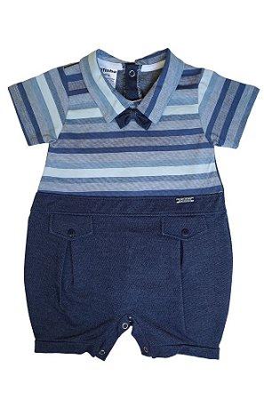 Macacão Infantil Joaquim Moletinho Jeans Gola Polo com Gravatinha - Fofinho Bebê