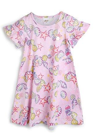Vestido Infantil Bebê Elian Fundo do Mar Rosa