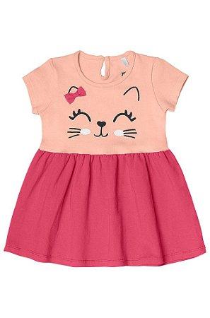 Vestido Minore Bebê em Algodão Gatinha Rosa