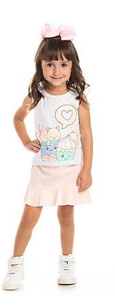 Conjunto Ollelê Little Menina Branco / Rosa