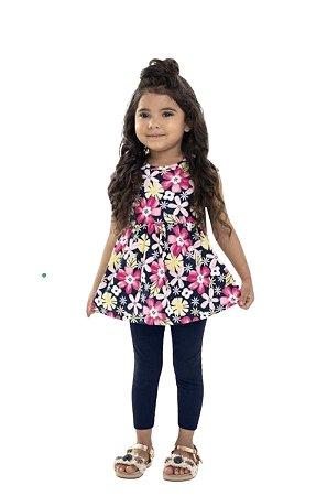 Conjunto Infantil Menina Floral Blusa Curta e Calça Legging Cotton Azul Marinho  – Bee Loop