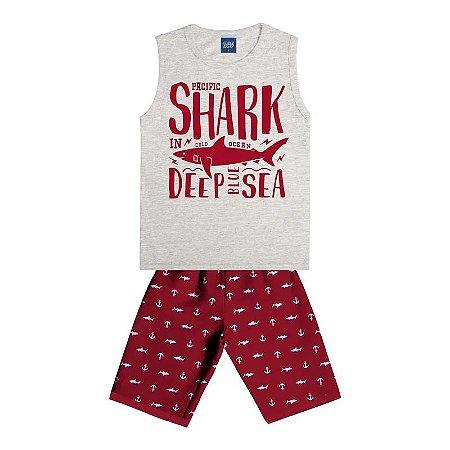 Conjunto Infantil Menino Shark Mescla / Vermelho - One Boy