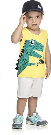 Camiseta WRK Regata Infantil Bebê Dinossauro com Estampa em Relevo 3D e Crista Interativa - Amarelo