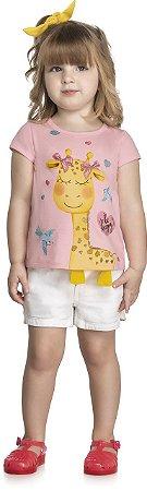 Blusa Infantil Bebê Meia Malha Penteada Girafinha com Detalhe Interativo - Kely Kety