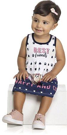 Vestido Infantil Bebê Meia Malha Penteada Best Friends - Kely Kety