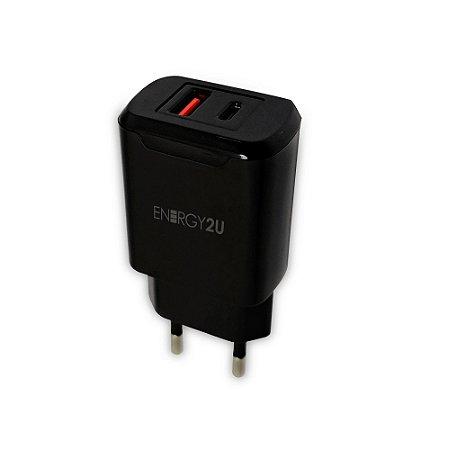 Carregador Viagem E2U 2 USB Type-C / USB Preto E2U-DPD01-BR