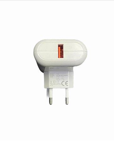 Carregador Viagem Kimaster Turbo 3.0 USB Branco T101