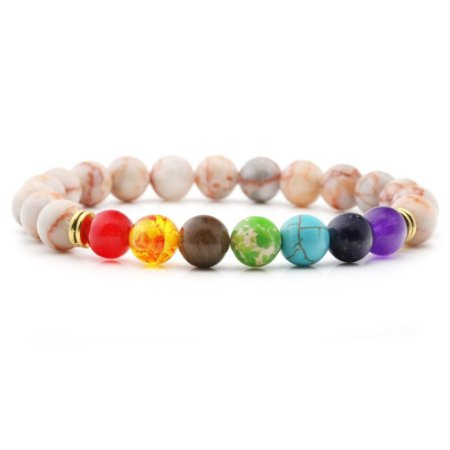 Pulseira 7 Chakras Jaspe Rose Mesclado Yoga Pedra Natural
