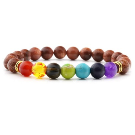 Pulseira 7 Chakras Pedra do Sol Yoga Pedra Natural