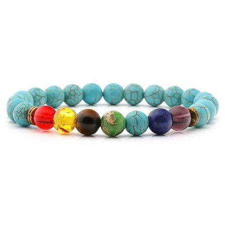 Pulseira 7 Chakras Turquesa Yoga Pedra Natural