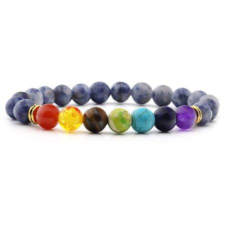 Pulseira 7 Chakras Yoga Lápiz Lazuli Pedra Natural