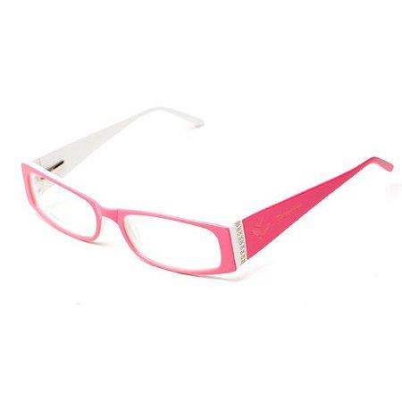 Armação de óculos Camou Rosa e Branco