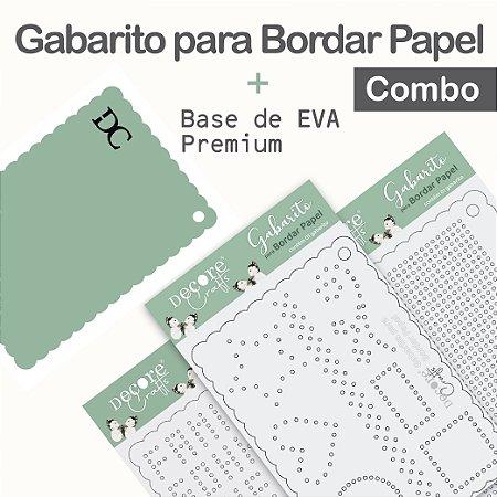 LANÇAMENTO | Gabarito para Bordar Papel - Combo com 3 gabaritos + Base de EVA Verde Menta