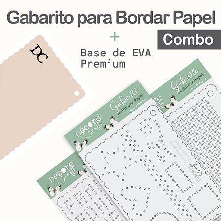 Gabarito para Bordar Papel - Combo com 3 gabaritos + Base de EVA Rosa Bebê