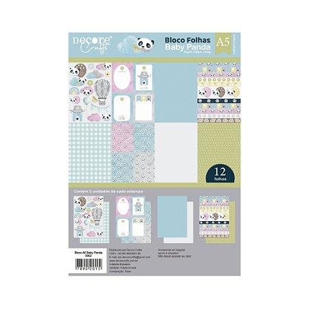 PROMO - COLEÇÃO BABY PANDA A5 - 210 x 148MM - 180g - Embalagem com 12 folhas - 3 estampas de cada