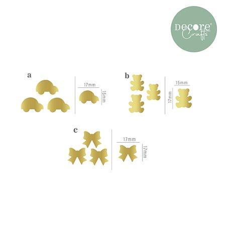 Mini Apliques Decorativos Misto - AUTOCOLANTE - 30 unidades, sendo 10 de cada um dos formatos
