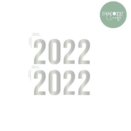 Aplique em Acrílico Espelhado Prata 2022 - 2mm