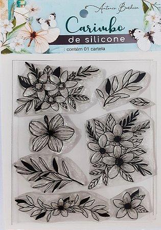 CARIMBO DE SILICONE ARRANJO DE FLORES: 90 x 110MM
