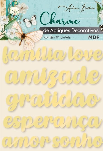Charme de Apliques Decorativos - Palavras Dourado II (ACRÍLICO)