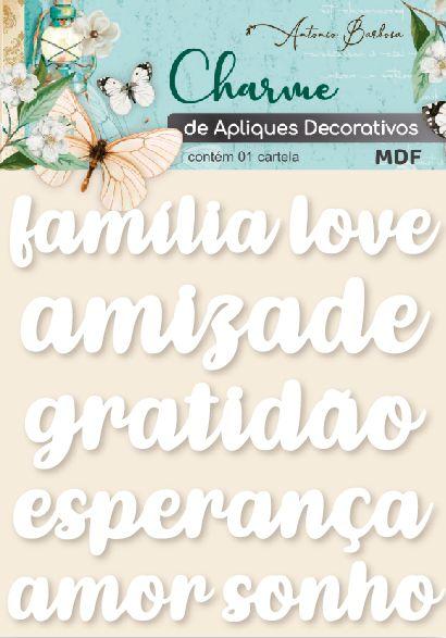 Charme de Apliques Decorativos - Palavras Branco II (ACRÍLICO)