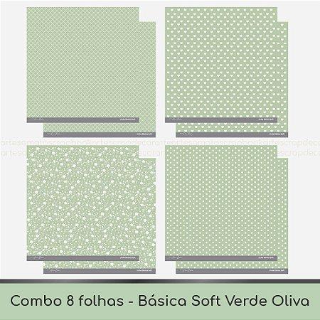Combo Coleção Básica Soft - 8 Folhas - Verde Oliva