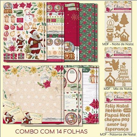 COMBO II - Meu Natal Colorido (14 FOLHAS) + 3 Apliques Mdf
