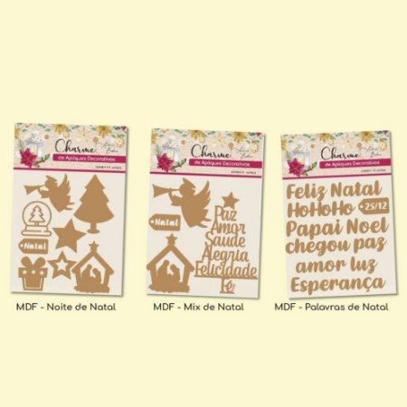Combo - Charme de Apliques Decorativos Natalinos - 3 MDFs