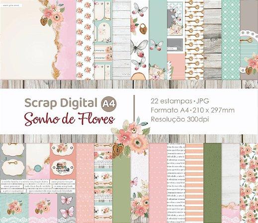 Scrap Digital A4 - Sonho de Flores - Observação PRODUTO DIGITAL