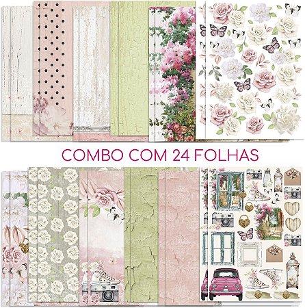 Combo c/ 24 folhas da coleção Encanto de Flores